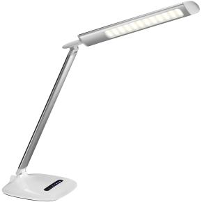Soft LED lampe i sølv/hvid