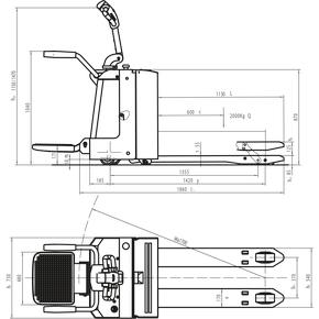 Fuldelektrisk palleløfter m. ståplads og værn