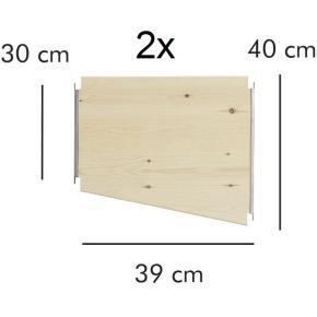 ABC overgangshylde, 2 stk., 39 cm, natur