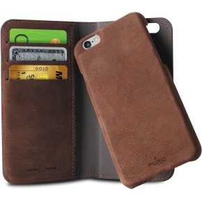 Puro Flip Wallet i læder, iPhone 6, mørkebrun