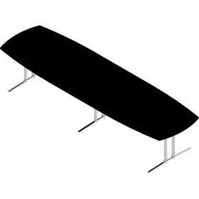 Switch konferencebord sort laminat 120x375 cm