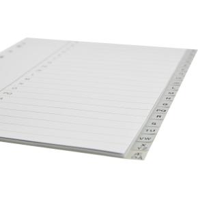 Budget registre A4, A-Å, plast, grå