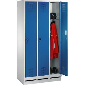 CP garderobeskab, 3x1 rum, Sokkel,Hængelås,Grå/Blå