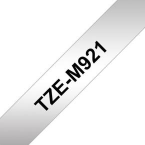 Brother TZe-M921 labeltape 9mm, sort på mat sølv