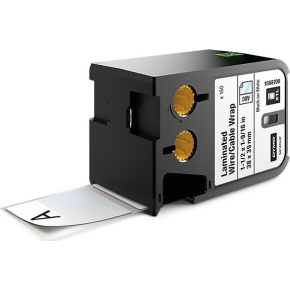 Dymo XTL, kabeltape, 38mm x 39mm, sort på hvid
