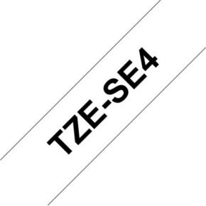 Brother TZe-SE4 labeltape 18mm, sort på hvid