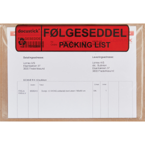 Følgeseddelslomme Følg./Pack., C5, 1000 stk.