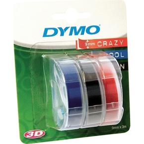 Dymo 3D prægetape 9mm x 3m i sort/rød/blå
