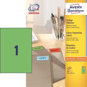 Avery Universaletiketter 21 x 29,7 cm, grøn, 100s.