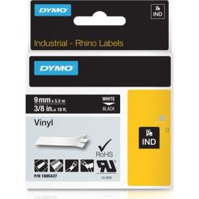 Dymo Rhino Vinyltape 9mm, hvid på sort