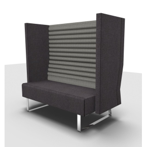 Mr. Box høj 2 pers. sofa grå med sølvfarvet stel