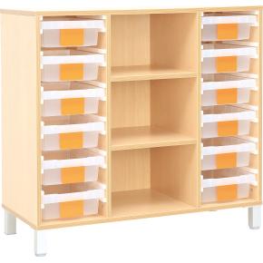 Klasseopbevaringsreol triple med indretning