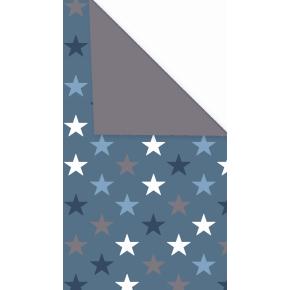 Gavepapir Stars blå dobbeltsidet, 57 cm x 154 m