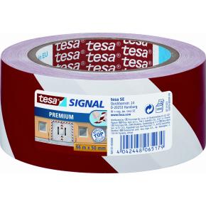 tesa Markeringstape 66 mm, rød/hvid