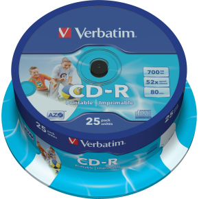 Verbatim CD-R 700mb/80min printable, 25stk