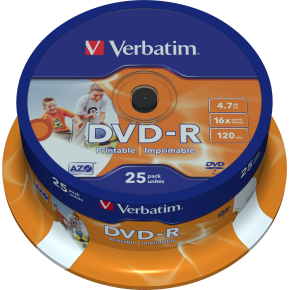 Verbatim DVD-R 4,7GB printable, spindel, 25 stk
