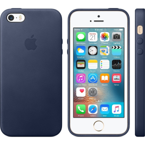 Apple iPhone SE Leather Case, natblå