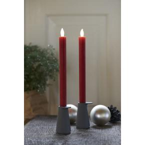 Thea LED kronelys, 2 stk, Rød, H.25 cm
