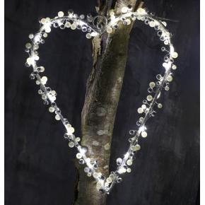 Juliet hjerte i hvid og sølv, Large, 30 LED