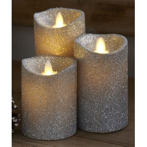 Sara LED vokslys, Sølv glitter, 3 stk.
