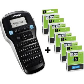 Sampak: Dymo LabelManager 160 + 5 stk Dymo D1 tape