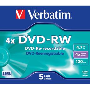 Verbatim DVD-RW 4,7GB Jewel Case, 5 stk