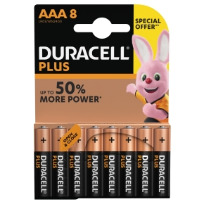 Duracell Plus Power AAA-batterier, 8 stk