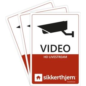 3stk. videomærkater til SikkertHjem alarm