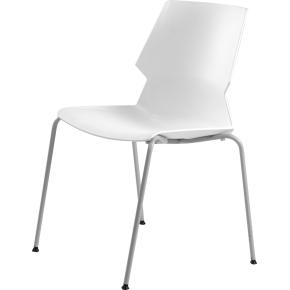 Prime kantinesæt m/ 6 HVIDE stole og 1 hvidt bord