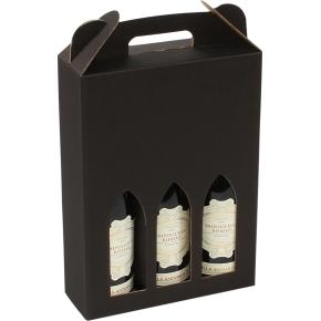 Gaveæske til vin, 3 flasker, sort