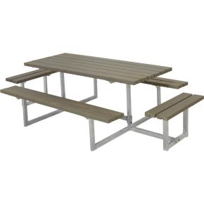 Plus Basic bord-bænkesæt m. påbygning, Gråbrun