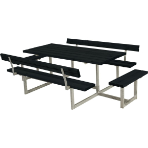Plus Basic bord-bænkesæt med ryglæn/påbyg, Sort