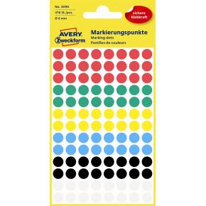 Avery 3090 manuelle etiketter, 8 mm, ass. farver