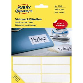 Avery 3340 manuelle etiketter, 62 x 19mm, 392stk