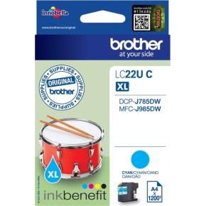 Brother LC22UC XL blækpatron, blå, 1200s