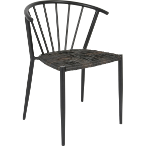 Sofia havestol i sort/brun m/alustel og polyrattan