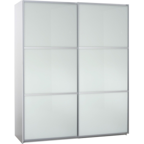 Garderobeskab m. skydedøre, Hvidt glas, B 180 cm