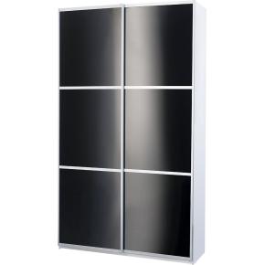 Garderobeskab m. skydedøre, Sort glas, B 120 cm