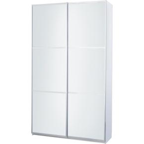Garderobeskab m. skydedøre, Hvidt glas, B 120 cm