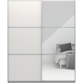 Garderobeskab m. skydedøre, Hvid struktur, B 180cm