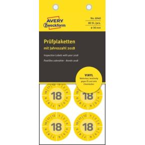 Avery Inspektionsdatoetiketter i gul, Ø30 mm
