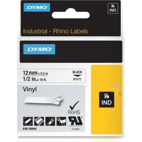 Dymo Rhino Vinyltape 12mm, sort på hvid