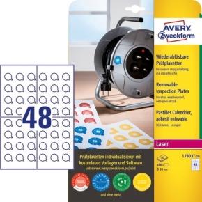 Avery Inspektionsdatoetiketter, aftagelige, Ø20 mm