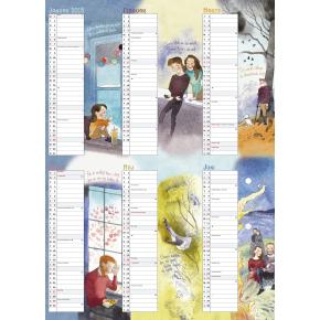 Mayland Vægkalender, 2x6 md. Familiens årskalender