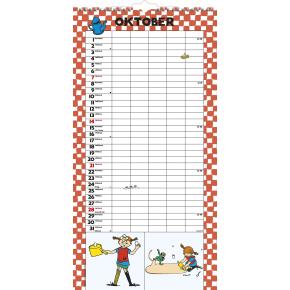Mayland Familiekalender, 5 kolonner, Pippi Langstr