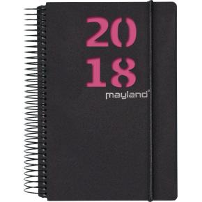 Mayland Spiralkalender, dag, sort m/pink og blå