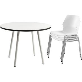 Prime kantinesæt m/ 4 HVIDE stole og 1 bord Ø100