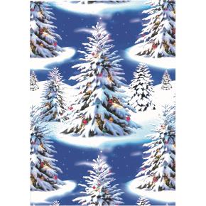 Gavepapir Blue trees, 57 cm x 154 m