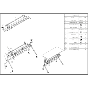 Flip-top bord 140x60 cm, Hvid
