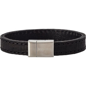 Nordahl Jewellery herrearmbånd, sort læder, 21cm